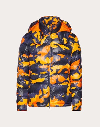 Valentino Camouflage Hooded Puffer Coat Man Navy Camo/orange 100% Poliammide 44