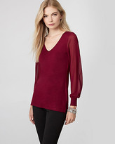 Le Château Knit & Woven V-Neck Sweater