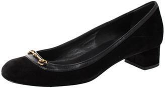 Gucci Black Suede And Leather Trim Horsebit Block Heel Pumps Size 36