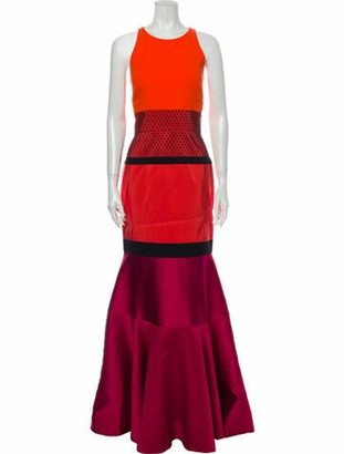 J. Mendel Silk Long Dress Orange