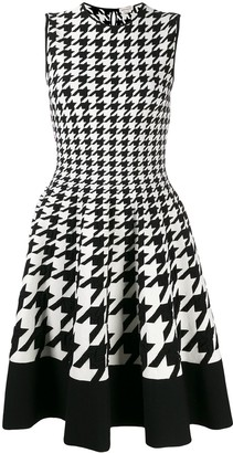Alexander McQueen Sleeveless Houndstooth Flared Dress