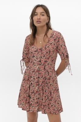 Free People Laced Up Mini Dress - black XS at Urban Outfitters