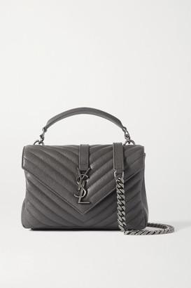 Saint Laurent College Medium Quilted Leather Shoulder Bag - Dark gray