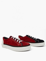 Lanvin Red Panelled Suede Tennis Sneakers