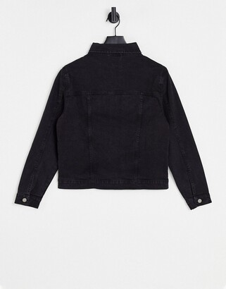 Brave Soul Bloom denim jacket in black