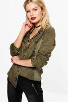 Boohoo Hannah Denim Wash Long Sleeve Shirt