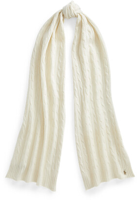 Ralph Lauren Cable-Knit Wool-Cashmere Scarf