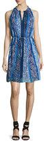 Elie Tahari Lenora Sleeveless Floral-Print Dress, Blue