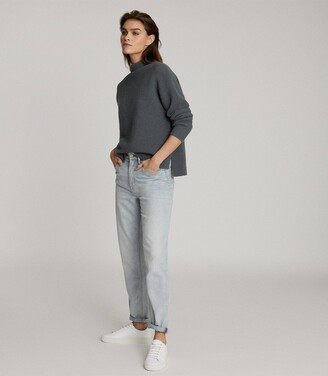 Reiss Lila - Ribbed High Neck Jumper in Teal