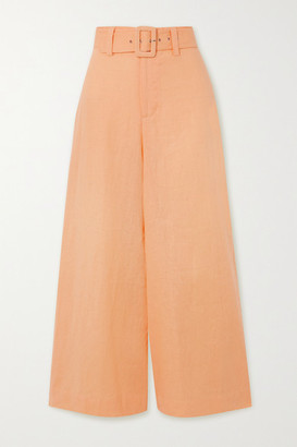 Faithfull The Brand Rose Cropped Belted Linen Wide-leg Pants - Pastel orange
