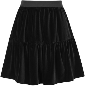 Alice + Olivia Sahara black stretch-velvet mini skirt