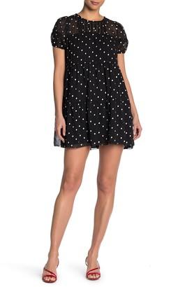 Blu Pepper Short Sleeve Babydoll Polka Dot Print Dress