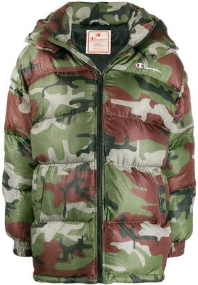 Champion camouflage print puffer jacket