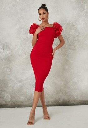 Missguided Red Puff Organza Sleeve Midi Dress