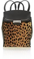 Alexander Wang Prisma Mini Backpack In Cheetah Printed Shearling With Pale Gold