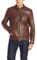 Andrew Marc Men's Gramercy Bubble Faux Leather Moto Jacket