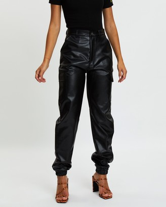 Missguided Faux Leather Cargo Trousers