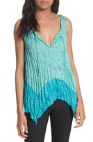 Tracy Reese Women's Handkerchief Hem Crinkle Silk Top
