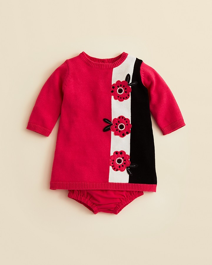 Hartstrings Infant Girls' Floral Sweater Dress & Panty - Sizes 0-12 Months
