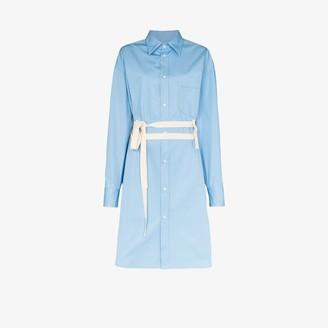 Plan C Belted Cotton Shirt Dress