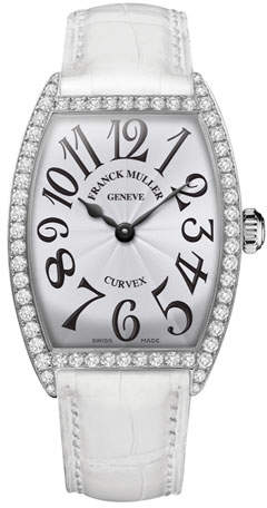 Franck Muller Ladies Curvex Diamond Watch with Alligator Strap