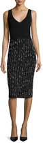 Lela Rose Knit V-Neck Combo Dress, Black/Ivory