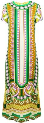 La DoubleJ Aztec Print Silk Midi Dress
