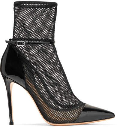 Gianvito Rossi 100 Mesh And Patent-leather Ankle Boots - Black