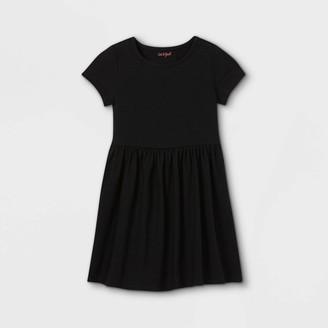 Cat & Jack Girls' Solid Knit Short Sleeve Dress - Cat & JackTM