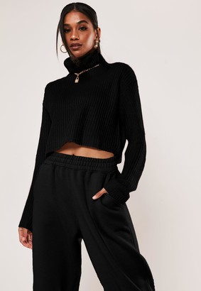 Missguided Petite Black Roll Neck Cropped Knitted Jumper