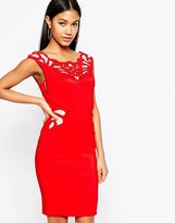 Lipsy Waxed Lace Applique Pencil Dress