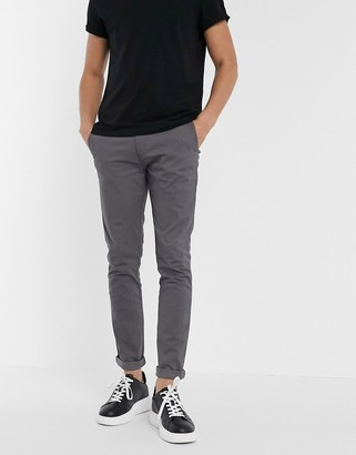 Topman skinny chinos in charcoal