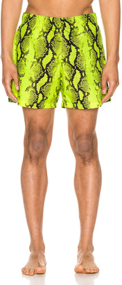 Off-White Snake Swimshorts in Yellow | FWRD