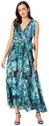 Tahari ASL Sleeveless Chiffon Printed Burnout Layer Gown (Jade Animal Wave) Women's Dress