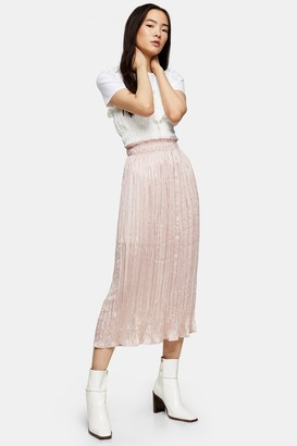 Topshop Womens Pink Crushed Satin Pleated Skirt - Pink
