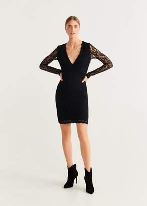 MANGO Combined lace dress