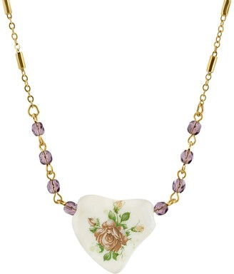 1928 Gold-Tone Purple Beaded White Heart With Pink Floral Decal Necklace