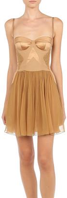 Alberta Ferretti Silk-Chiffon Bustier Mini Dress