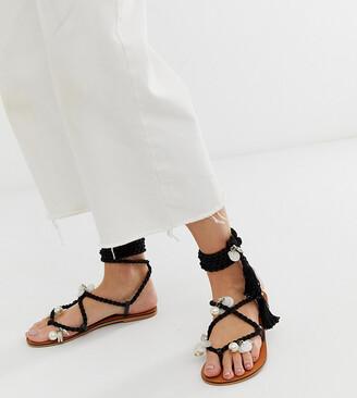 Asos DESIGN Wide Fit Fields embellished tie leg flat sandals