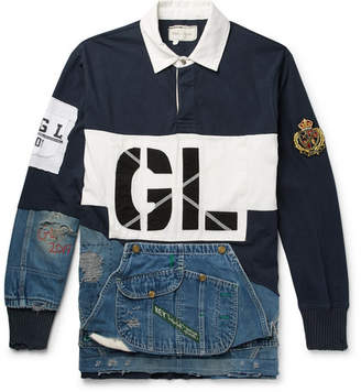 Greg Lauren Panelled Distressed Cotton-Jersey And Denim Rugby Shirt