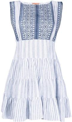 Ermanno Scervino Stripe-Print Tiered Short Dress