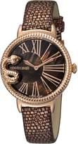 Roberto Cavalli OVERSIZED SNAKE Women's Swiss-Quartz Brown Leather Strap Watch