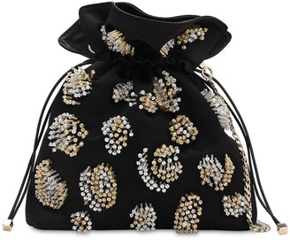 Les Petits Joueurs Trilly Bead Embellished Satin Clutch
