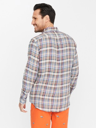 J.Mclaughlin Gramercy Classic Fit Linen Shirt in Plaid