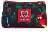 Love Moschino Jungle Canvas Cosmetic Pouch Bag, Black/Red