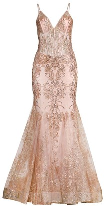 Jovani Embellished Lace Trumpet Gown