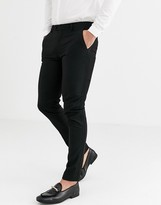 Asos Design DESIGN super skinny tuxedo trousers in black