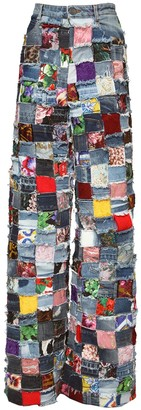 Dolce & Gabbana Allover Jacquard & Patchwork Denim Jeans