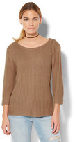 New York & Co. Zip-Accent Mixed-Knit Sweater
