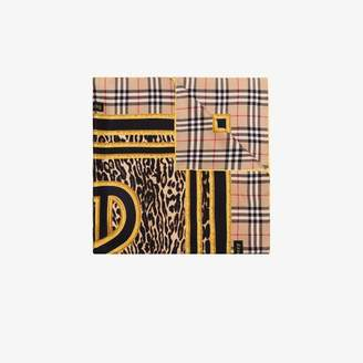 Burberry beige vintage check silk scarf